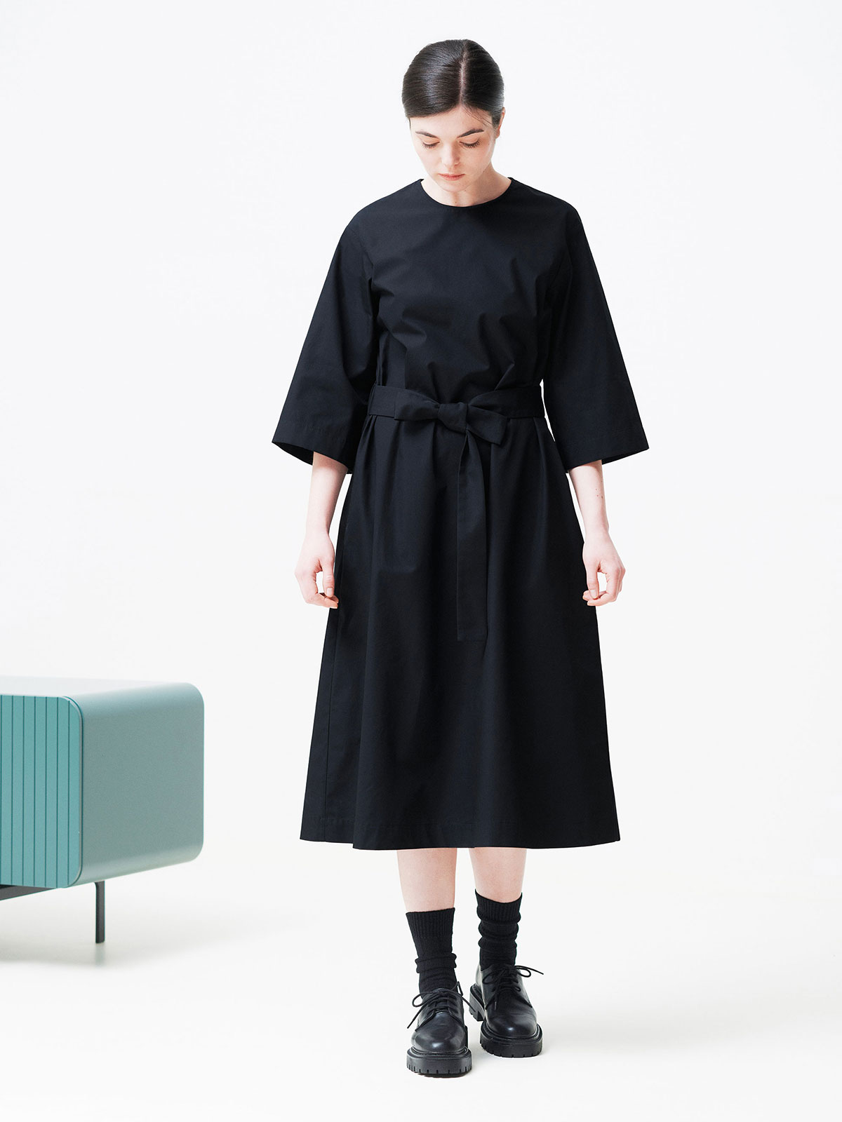 ELISAVETA DRESS mid-length belted dress made from high-quality cotton poplin